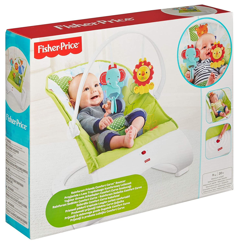 Tierspielzeug Fisher-Price CJJ79 Comfort Curve Wippe Babyschaukel und Sitz mit ab 0 Monaten max 9 kg ab nehmbarem Spielb/ügel inkl