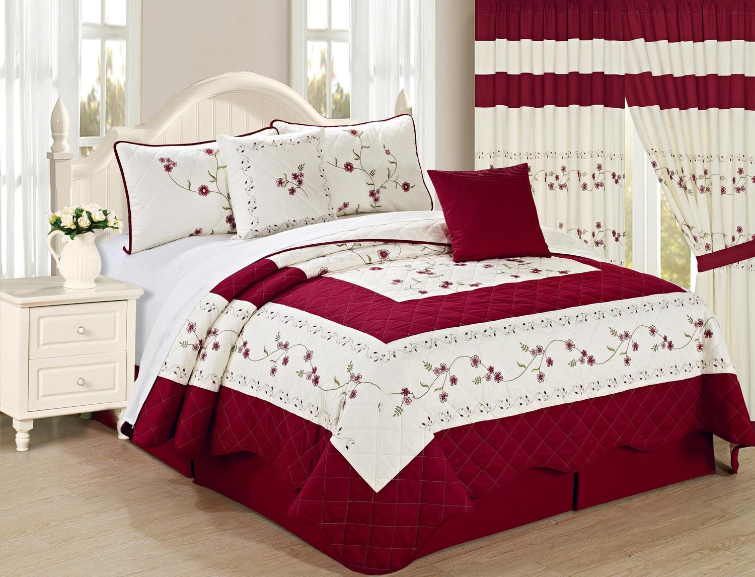 All American Collection New 6pc Embroidered Floral Bedspread/Quilt Set Queen Size, Burgundy
