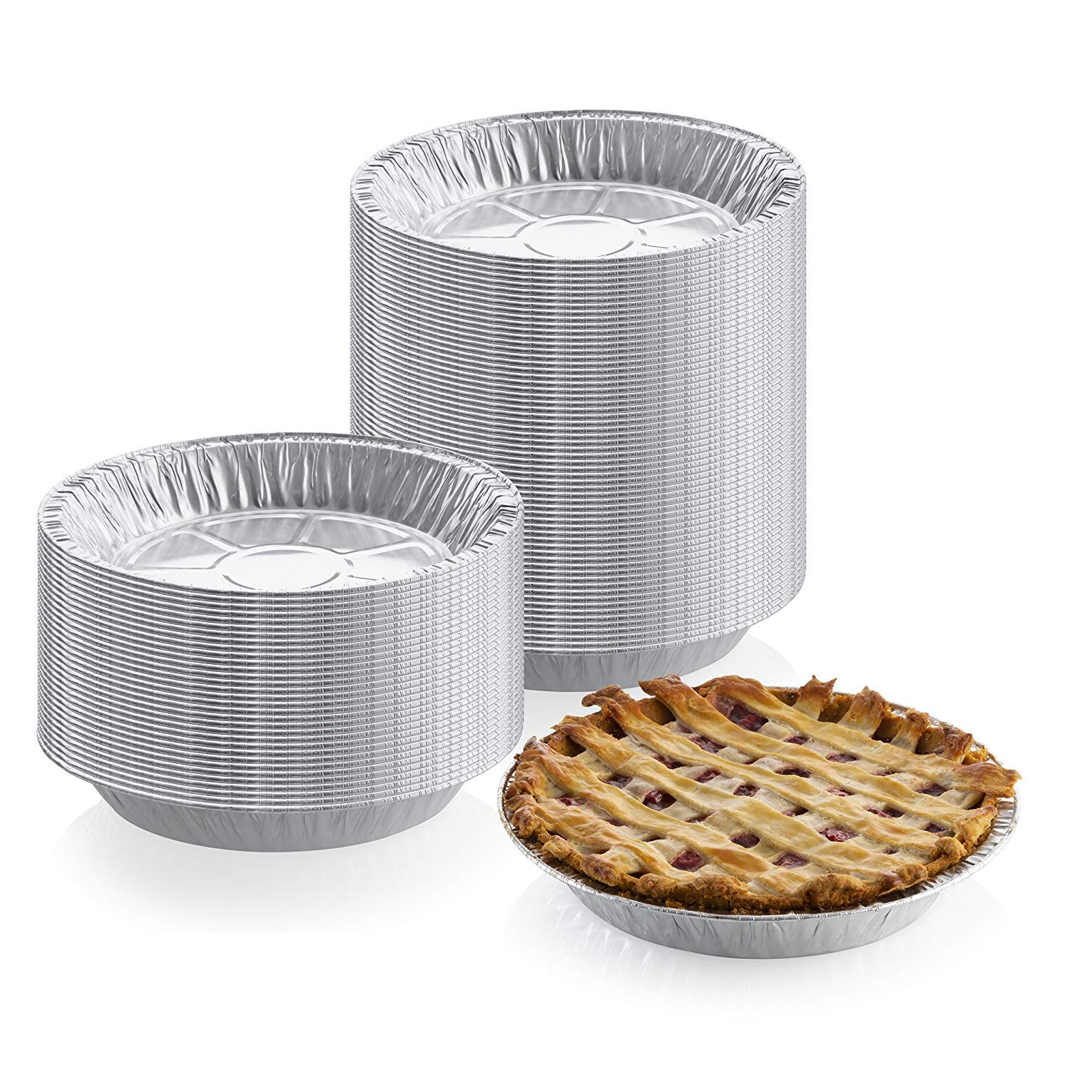 9'' x 1'' Medium Depth Aluminum Silver Foil Pie Pan (Pack of 25) – Disposable Round Tin Plates for Pies, Tart Quiche, Cheese Cake and Deserts, Perfect for Pie Fundraisers