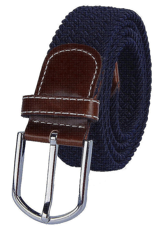 ITIEZY Cintura elastica intrecciata per Uomo e Donna fibbia in pelle nero blu grigio marrone Casuale Moda