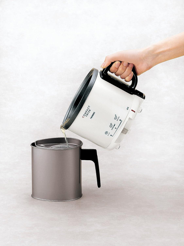 ツインバード コンパクト 電気 フライヤー パールホワイト 家庭用 卓上 温度調節 EP-4694PW