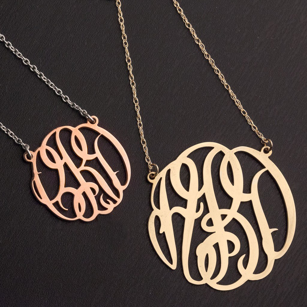 14K Gold Small Personalized Monogram Pendant by JEWLR