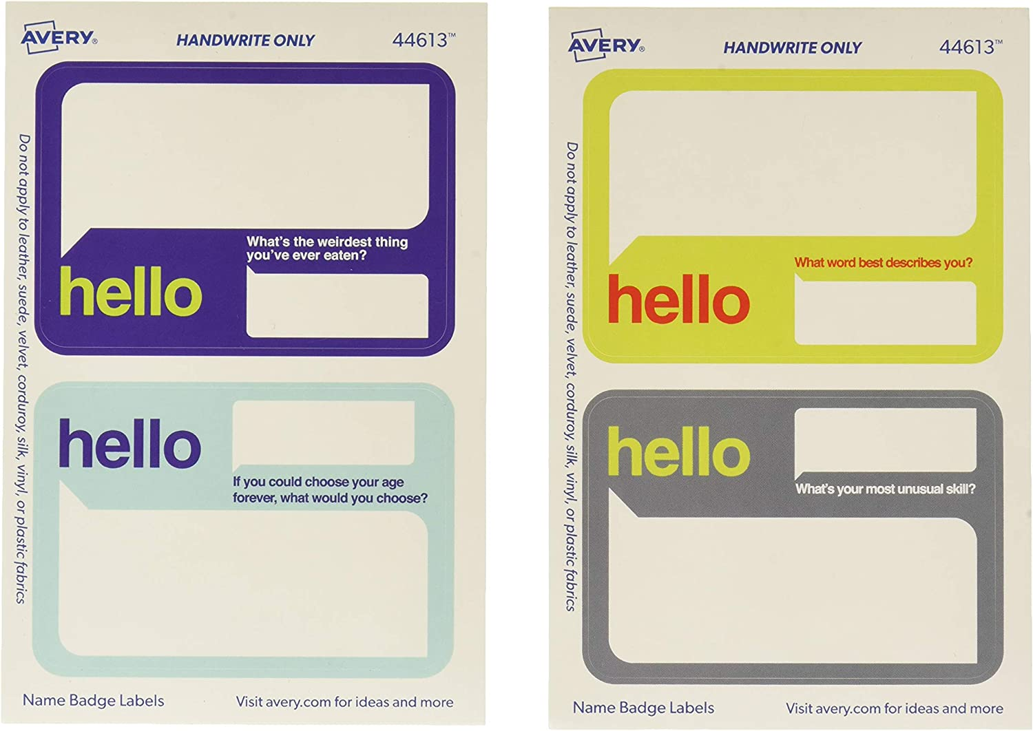 Avery Premium Event Name Tags, Ice Breaker Questions, No Lift No Curl, 36 Handwriteable Name Stickers