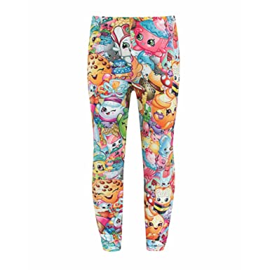 a0e57a27e30c00 Shopkins Childrens/Girls Official Character Collage Leggings: Amazon.co.uk:  Clothing