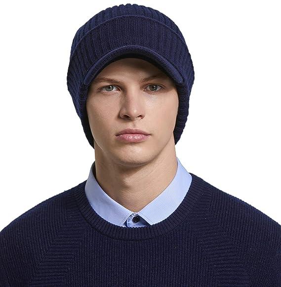 81f6fad1aac6c RIONA 100% Laine Visor Bonnet Unisexe Hiver Chapeau tricoté Homme Beanie  Hats Hiver Chapeau Wool Beanie pour Homme Taille Unique: Amazon.fr:  Vêtements et ...
