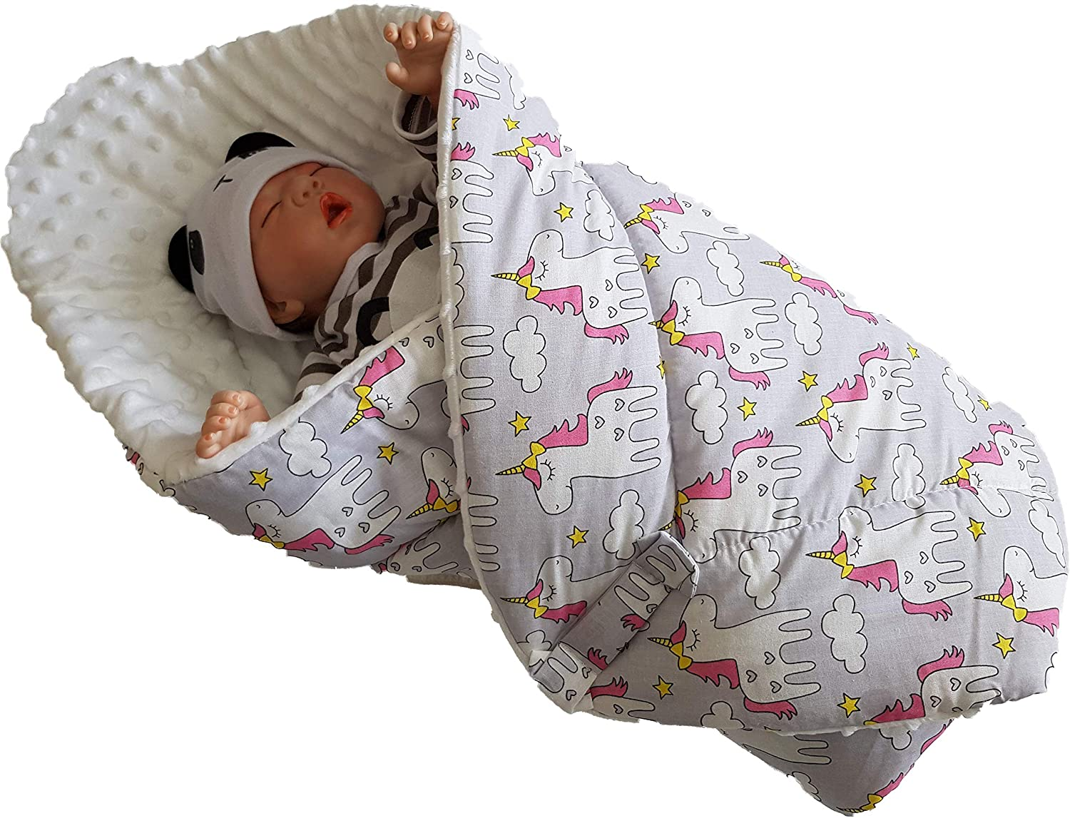 Perfect as a Baby Shower Gift BlueberryShop Minky Fleece Baby Swaddle Wrap Bedding Blanket Two-Sided Sleeping Bag for Newborns White-Grey 75 x 80 cm Intended for Kids Aged 0-3 Months