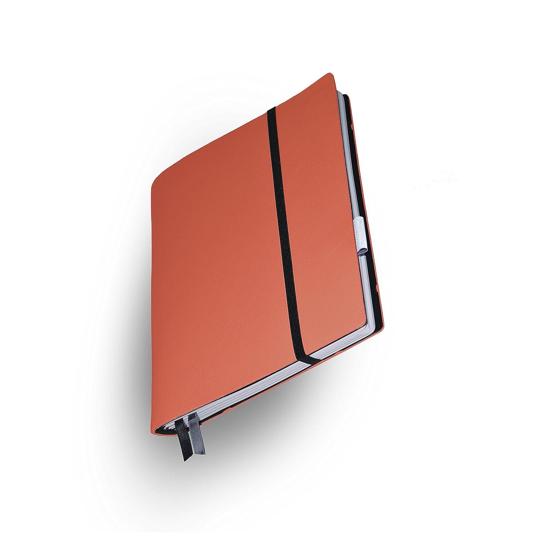 Whitebook Soft S214-SL、モジュラーノート、カーフスキン、カット、Orange Hermes、240 P ノート FSC(iPad Air、Samsung Tab 9.7