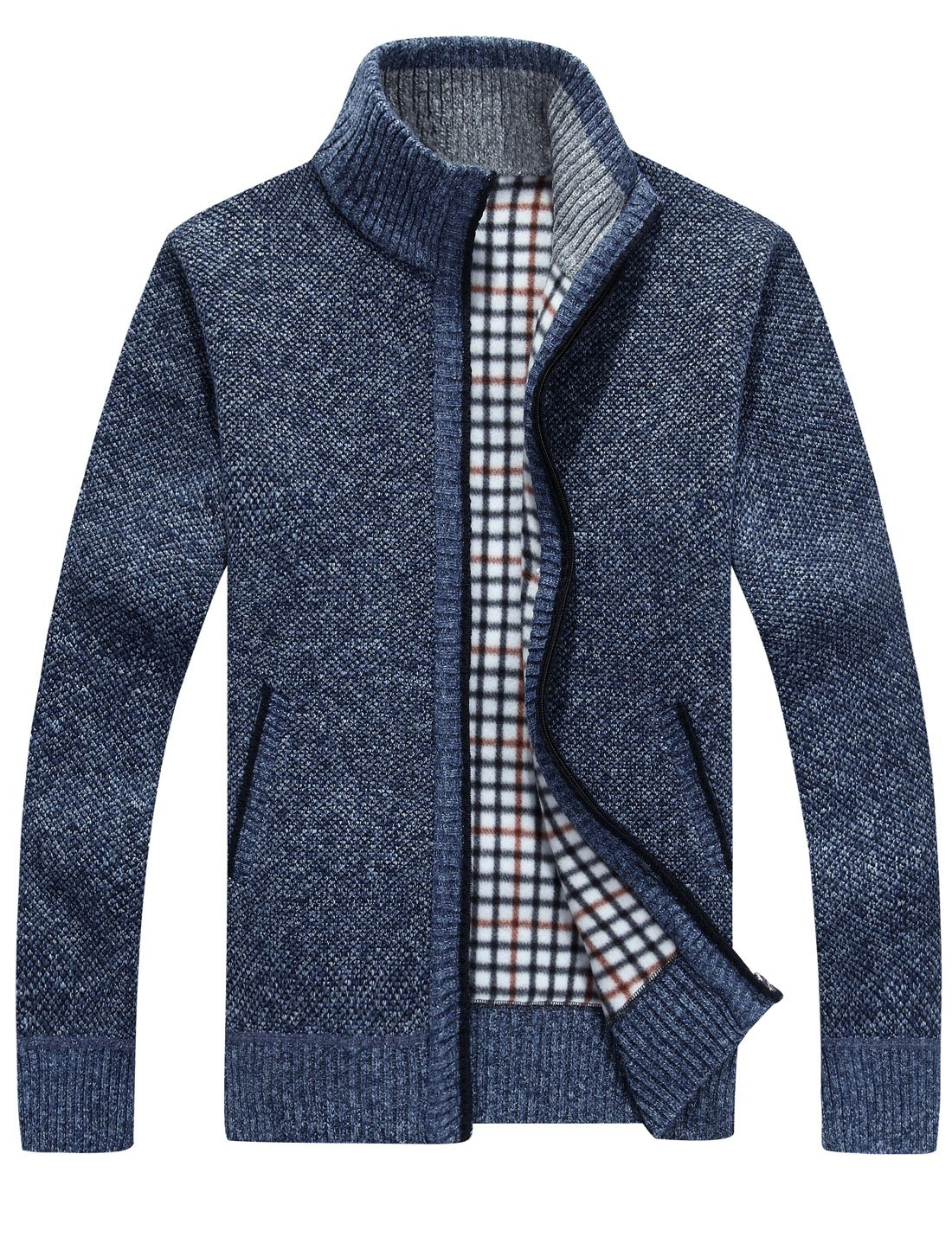 Yeokou Men's Casual Slim Full Zip Thick Knitted Cardigan Sweaters with Pockets (Small, Blue)