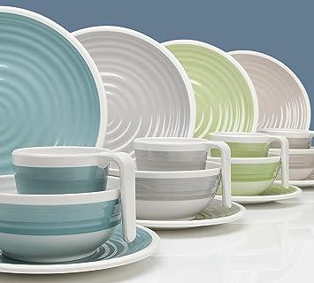 Moritz Harmonie Design - Vajilla de melamina para camping, de 16 a 32 piezas, para 4 personas