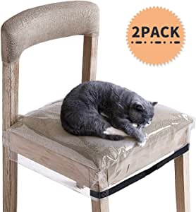 SIWUTIAO Plastic Dining Chair Covers, Clear PVC Waterproof Protector for Dining Room Chair, 2 Pack with Adjustable Belt Strap and Fit Most 18-21 inch Seat