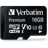 Verbatim 44082 Premium microSDHC - 16 GB geheugenkaart, incl. Adapter, klasse 10, leessnelheid tot 80 MB/s, zwart