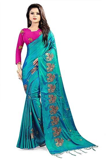 183a774ca95f02 Izonme Women s Paper Silk Saree With Blouse Piece (Blue)  Amazon.in ...