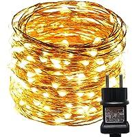 ACDE Guirnaldas Luces Enchufar, 10M/100 LED Cadena de Luces Impermeable Adaptador UE incluido, Luces de Alambre Cobre…