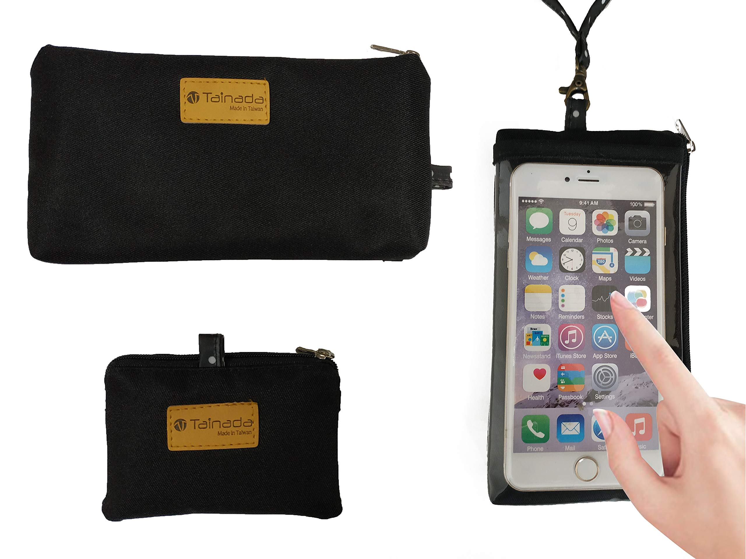 Tainada Smartphone Purse Pouch Bag with Clear View Window Touch Screen & Neck Strap Lanyard for iPhone Xs Max, XR, Samsung Galaxy S9 + Bonus ID Window Card Holder Coin Purse (Black)