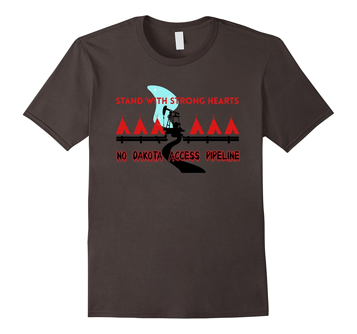Standing Rock Stand With Strong Hearts NoDAPL Rezpect Tshirt-TH
