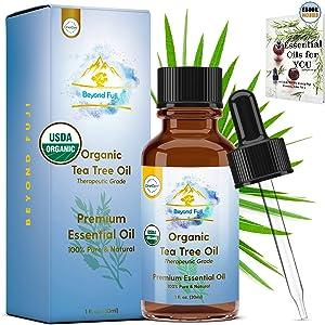 Organic Tea Tree Essential Oil, 100% Pure USDA Organic Therapeutic Grade All-Natural Extract for Skin, Acne, Hair, Scalp, Nails, Shampoo Melaleuca Alternifolia 30ml with Glass Dropper Beyond Fuji