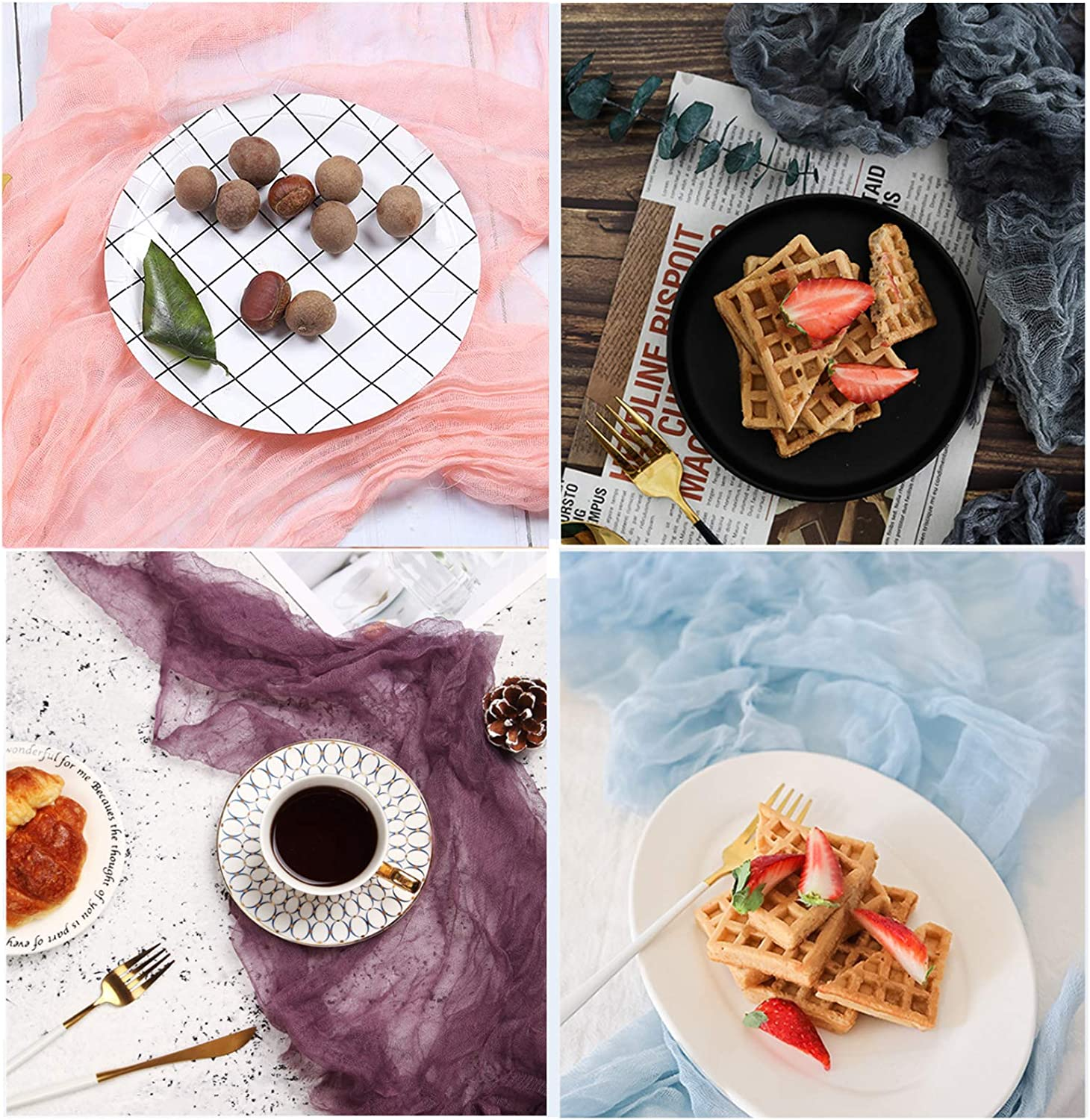 Gauze Napkin 4pieces 23x35 Inch (60 x 90cm) Cheesecloth Photography Props for Tabletop Food Product Flat Lay Backdrop Paper Photo Studio Background (Grey Blue & Reddish Purple & Sky Blue & Pink)