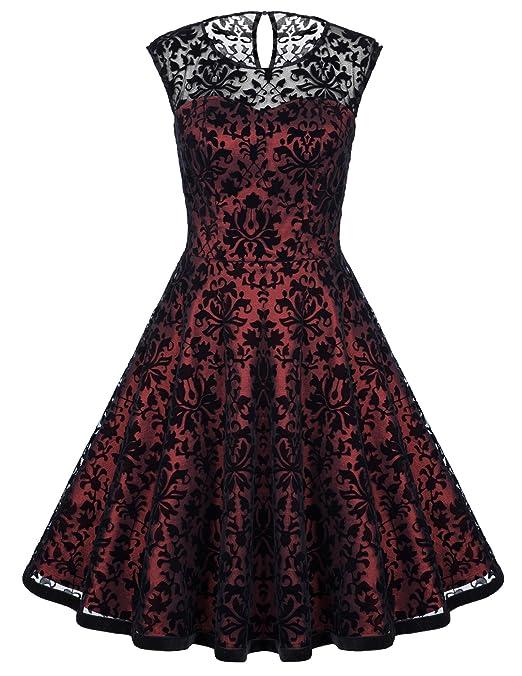 Belle Poque 50s Rockabilly Dress Vestido de cóctel de las señoras Vestidos de encaje vintage: Amazon.es: Ropa y accesorios