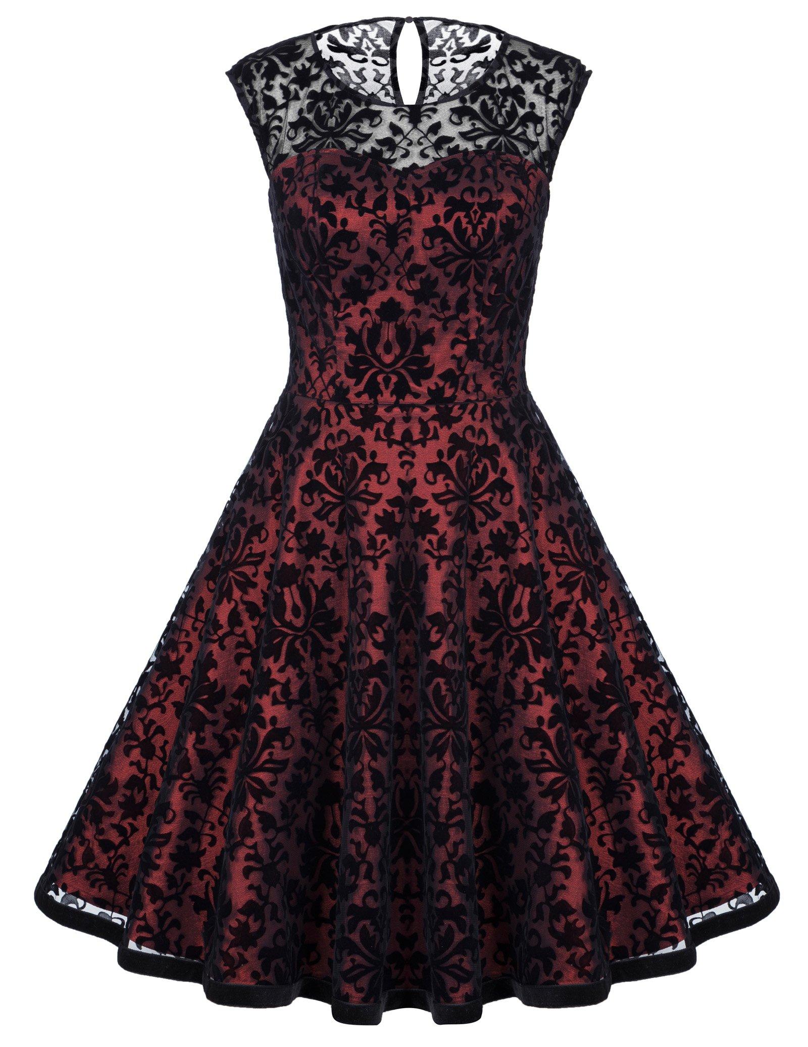 Belle Poque Ladies Vintage Lace Dress Elegant Formal Swing Dresses S BP278-1