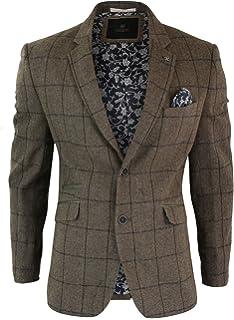 e0d0fa178bc41 Veste Homme Tweed Chevrons Marron Vintage Carreaux Bleu Marine Blazer Style  Peaky Blinders