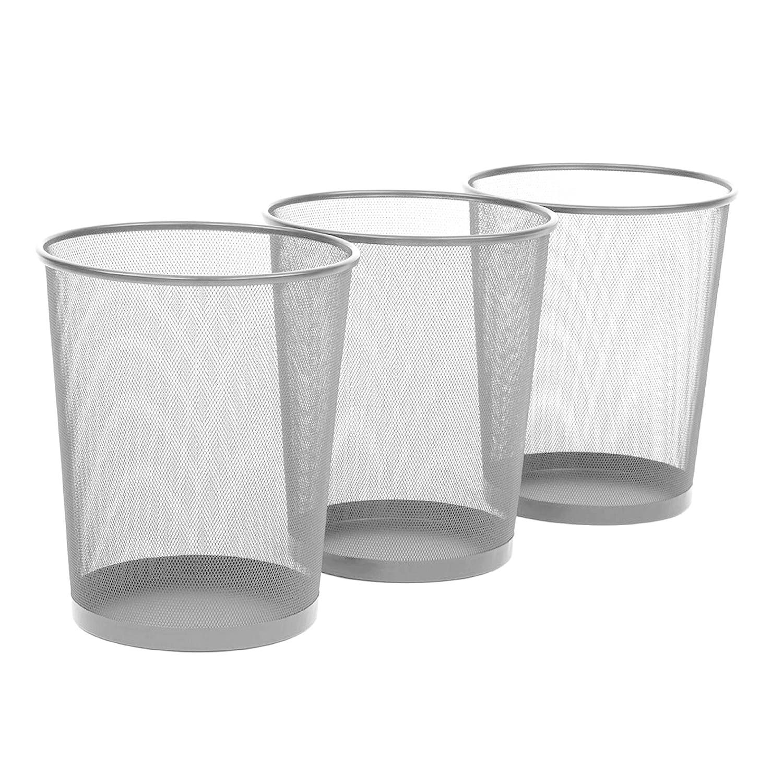 "Seville Classics 3-Pack Round Mesh Wastebasket Recycling Bin, 6 Gal, 12"" Diameter Top x 14"" H, Silver"