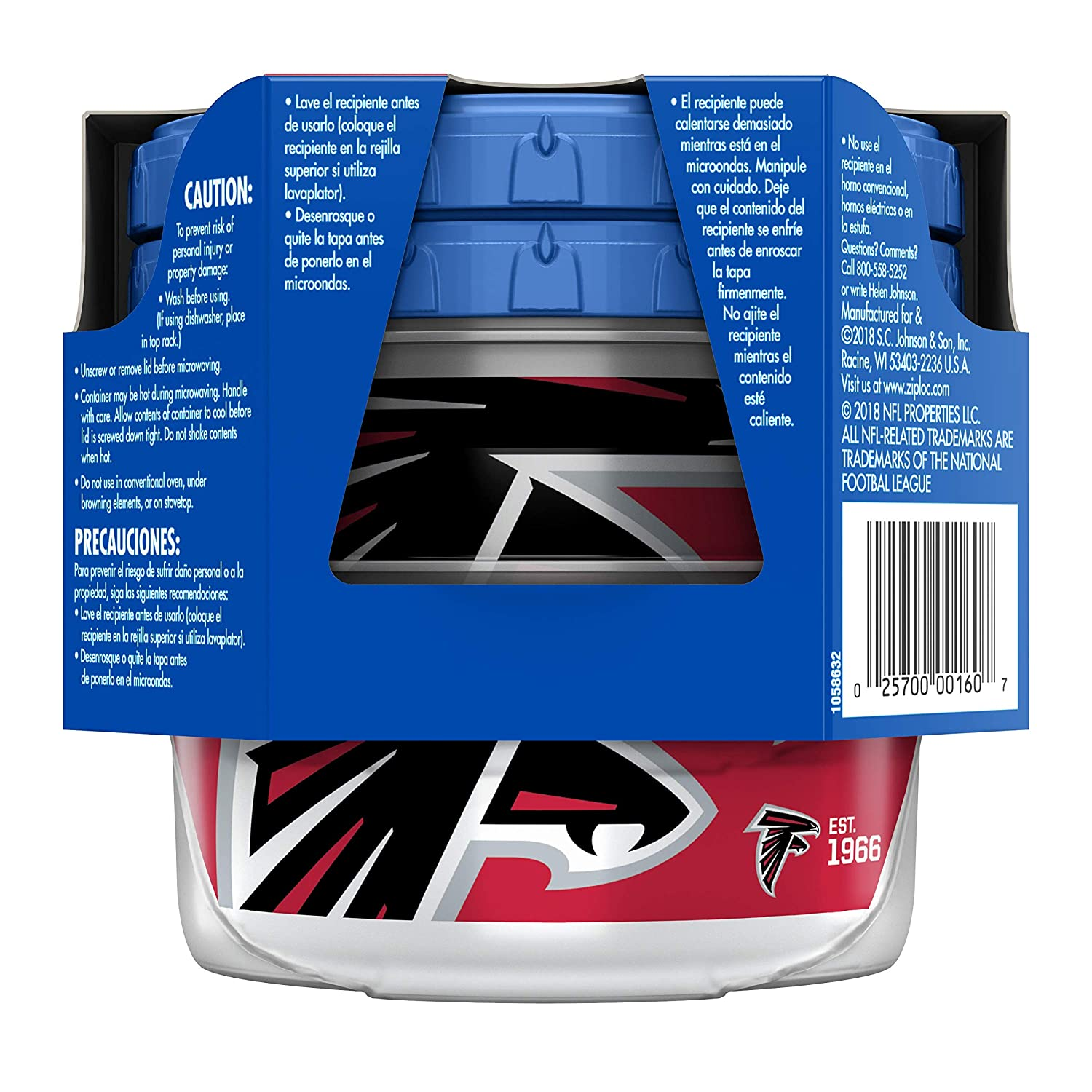 Ziploc Brand NFL Atlanta Falcons Twist n Loc Containers, Small, 2 ct, 3 Pack