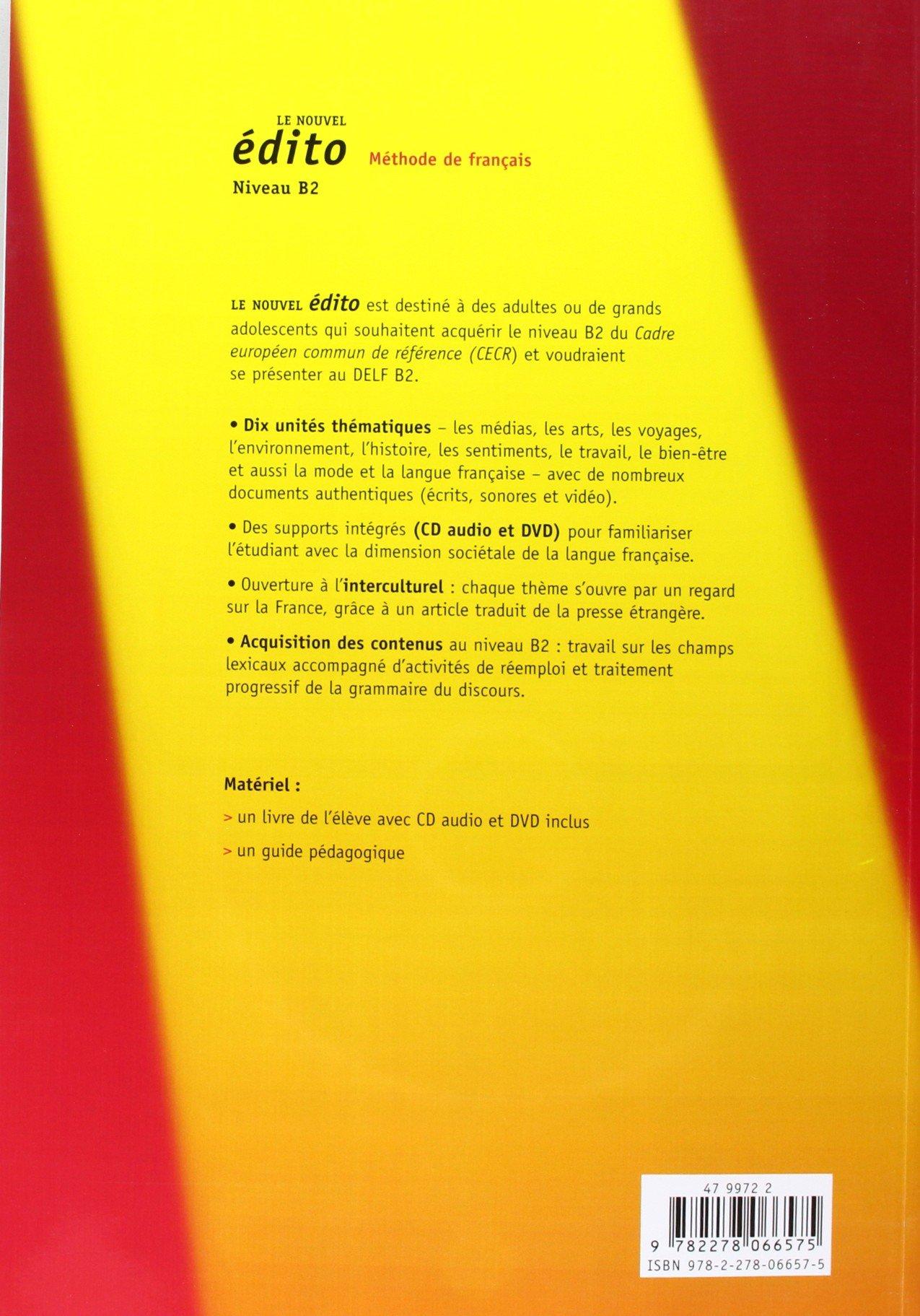 Nouvel Edito Niveau B2 Livre Cd Dvd New Ed French
