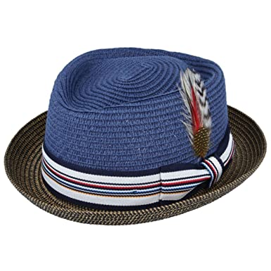 93888ef643f0f9 UNISEX PAPER STRAW CRUSHABLE SUMMER PORK PIE HAT WITH BAND AND ADJUSTABLE  SWEATBAND (SMALL(