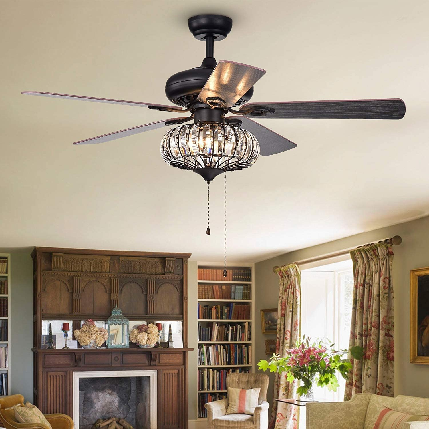 MORE CHANGE Crystal Industrial Ceiling Fan Light Iron Cage Fan Chandelier Pull Chain 3-Lights Fan with 5 Reversible Wood Blade for Living Room 52 Inch Bronze Black Stretch