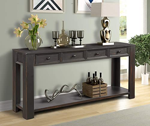 Console Sofa Table for Living Room, WeYoung Wood Entryway Table with Storage Drawers and Bottom Shelf 64 L x 15 W x 30 H Distressed Black