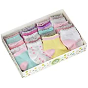 Little Me 20 Pair Pack Unisex Baby Infant Newborn Girls Anklet Socks in Gift Box Set, Flat Knit, Multi, 0-12/12-24 Months