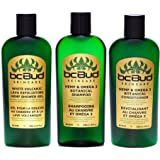 BC Bud Natural Hemp Shampoo & Conditioner & Exfoliating Body Wash Set with Botanical Hemp Oil and Omega 3 for Oily Hair, Itchy Scalp & Thinning Hair, Sulfate Free