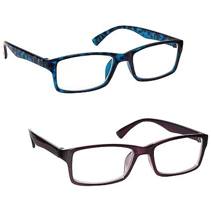 89cb3edc24 La Compañía Gafas De Lectura Azul Carey Y Púrpura Lectores Valor Pack 2  Hombres Mujeres UVR2092BL_P