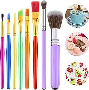8 Pieces Cake Decorating Brushes Tools Set Cookie Decoration Brushes Fondant Gum Paste Decorating Tools Cake Cookie Brushes for DIY Cake Sugar Cookie Fondant Decoration Supplies