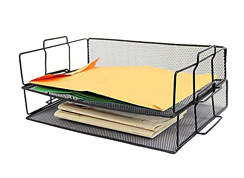Negro Malla de acero 2 Tier estante de organizador papel higiénico, Pemium calidad organizador de de escritorio Doble bandeja. Elegante Oficina productos. Por estacionaria estación edd322