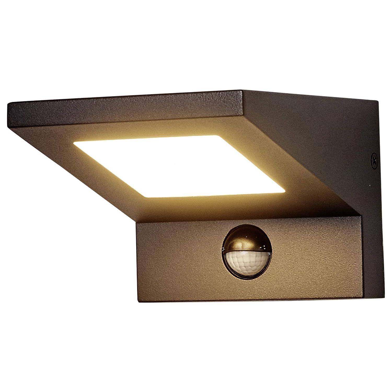Lampenwelt LED Wandleuchte außen Levvon mit Bewegungsmelder (spritzwassergeschützt) (Modern) in Schwarz aus Aluminium (1 flammig, A+, inkl. Leuchtmittel) | Außenlampe, Wandlampe für Outdoor & Garten Außenwand/Hauswand, Haus, Terrasse Balkon [Energiekla