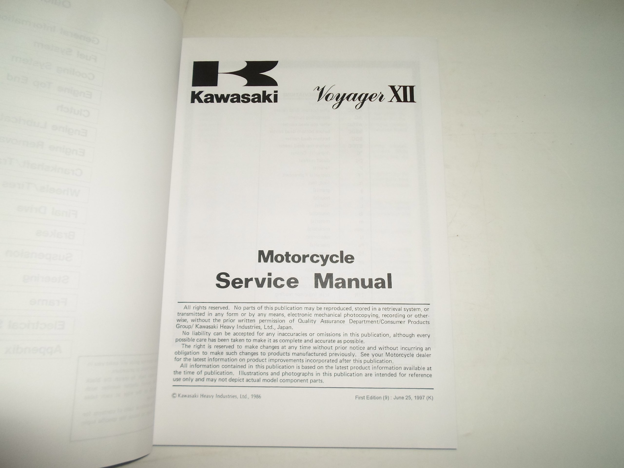 1986 Kawasaki Voyager XII Motorcycle Service Manual WATER DAMAGED: KAWASAKI:  Amazon.com: Books