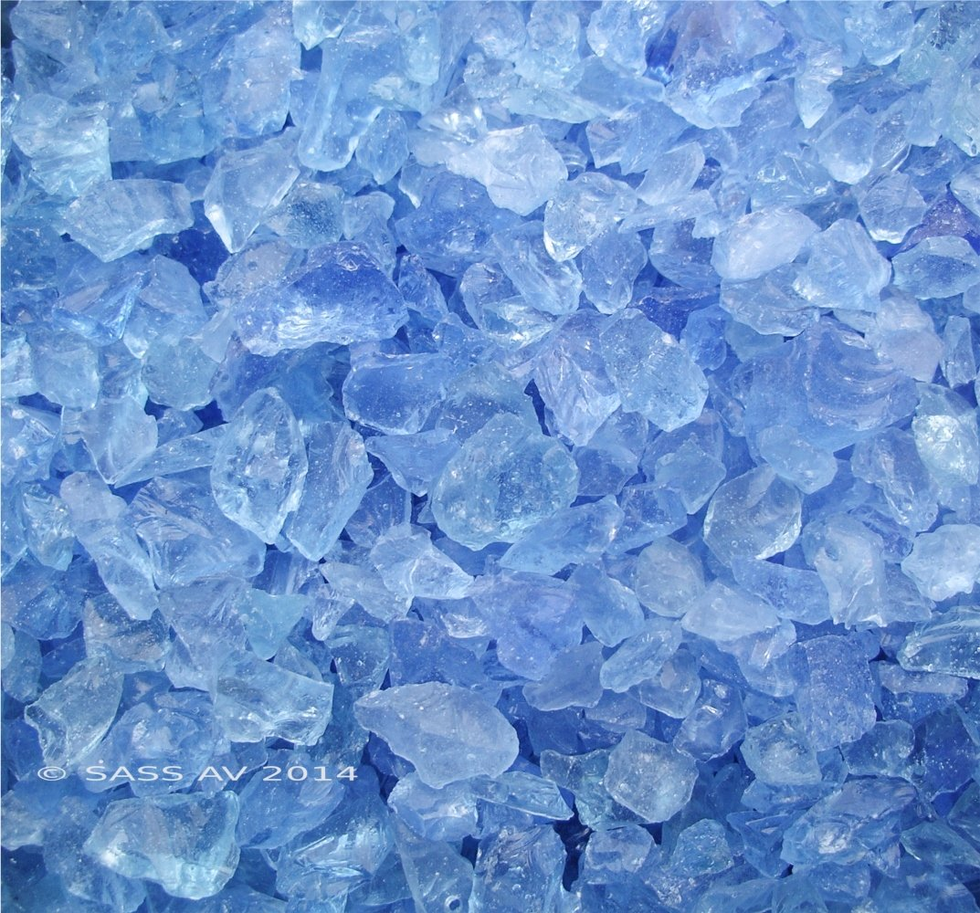 Fireplace Glass, 15 Light Blue Rock + 35 Clear Base , 50 LBS Total by Fireplace Glass San Diego
