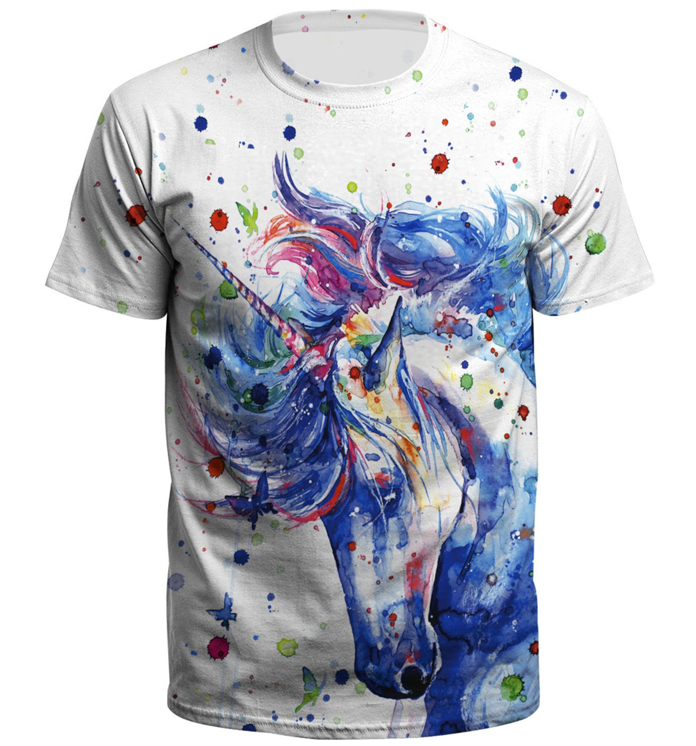 JollyCreek Unisex Boys Girls 3D Cartoon Printed Short Sleeve O-Neck Tee Shirt,Unicorn,S