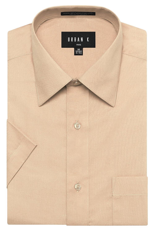 URBAN K メンズMクラシック フィット ソリッドフォーマル襟 半袖ドレスシャツ レギュラー & 大きいサイズ B072Y5JWQL L|Ubk_khaki Ubk_khaki L