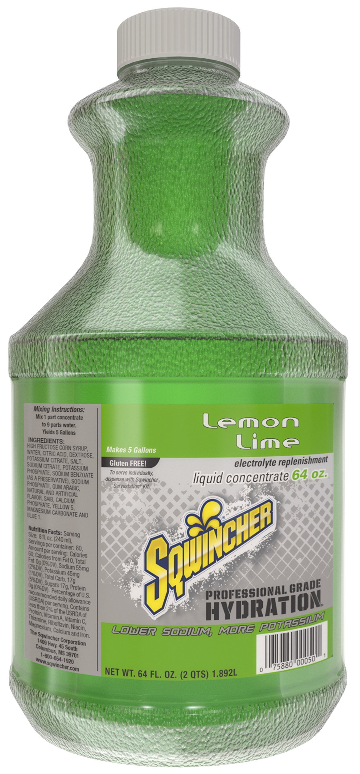 Sqwincher Liquid Concentrate Electrolyte Replacement, 5 Gallon Yield, Lemon Lime 030328-LL (Pack of 6) by Sqwincher