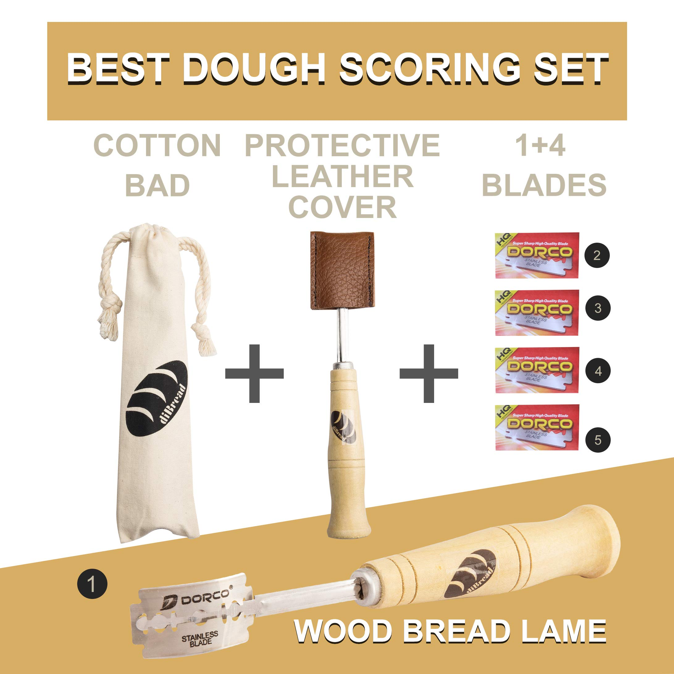 DiBread Bread Scoring Lame | Dough Scoring Tool | Premium Hand Crafted Bread Lame with 5 Blades Included | with Authentic Leather Protective Cover and Cotton Bag by by DiBread (Image #4)