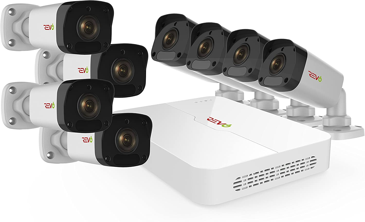 Revo America Ultra 8Ch. 2TB HDD 4K IP NVR Security System – Fixed Lens 4 x 1080p IP Bullet Cameras – Remote Access via Smart Phone, Tablet, PC MAC