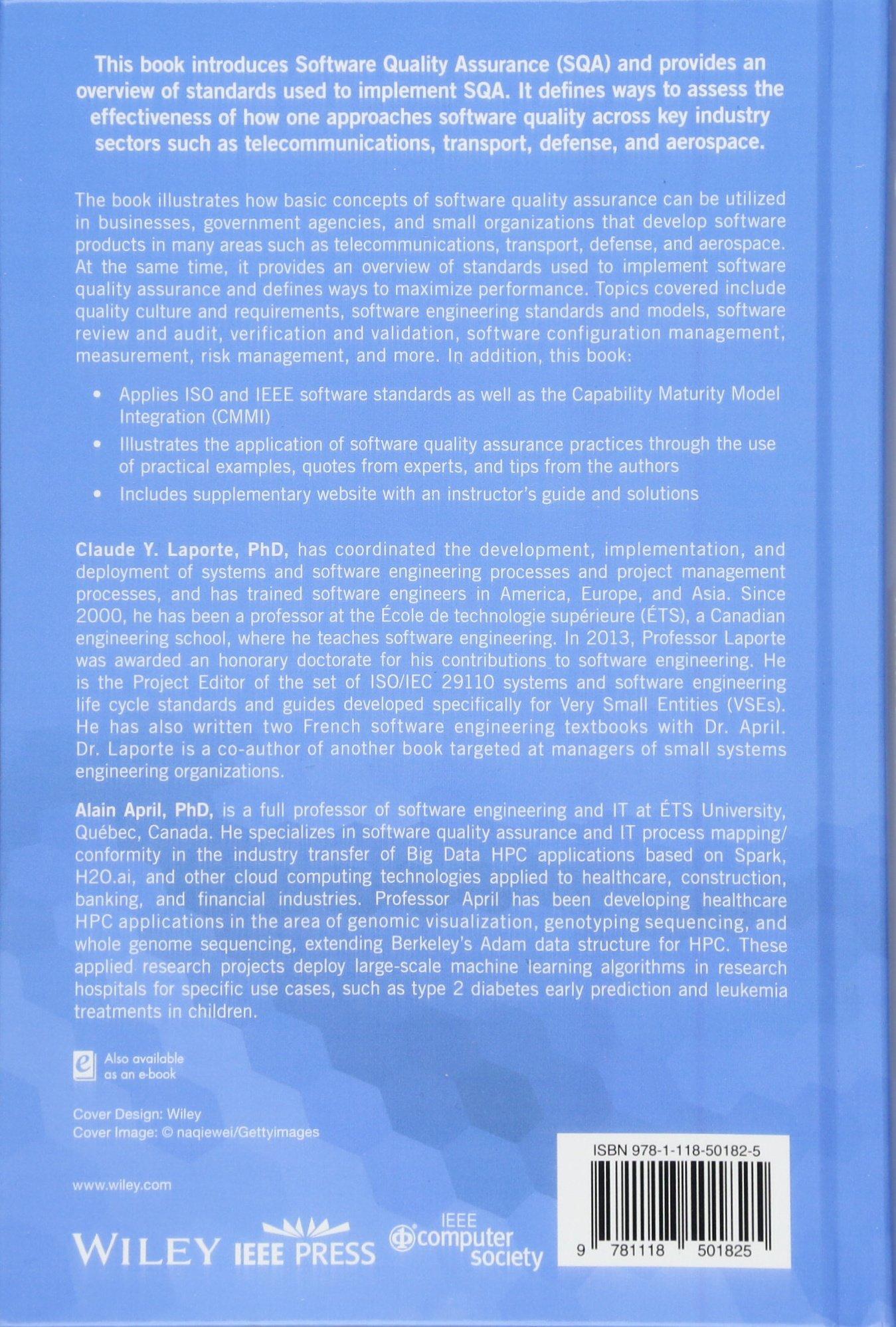 Software Quality Assurance: Claude Y  Laporte, Alain April