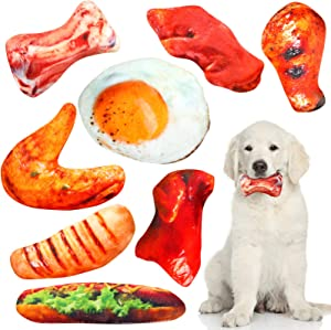 8 Pieces Food Shaped Dog Squeaky Toys Plush Simulation Food Pet Chew Toys Set Suitable for Small Medium Dogs