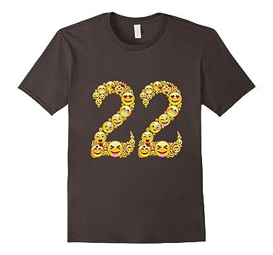 Mens Funny 22 Years Old Cool 22nd Birthday Emoji Shirt Gifts 2XL Asphalt