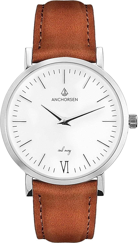 ANCHORSEN Little Journey Maritime Damen-Armbanduhr - Farbe Silber - Schweizer Uhrwerk - Weißes Ziffernblatt - Braunes