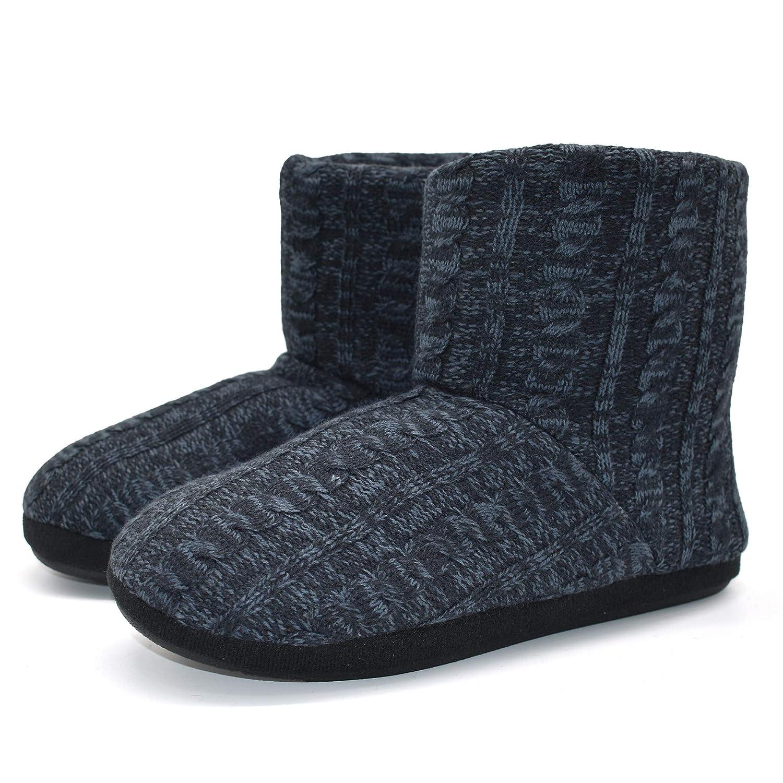 d63f0d001 COFACE Men s Faux Fur Lined Knit Anti-Slip Indoor Slippers Boot House  Slipper Bootie 8-Xilie