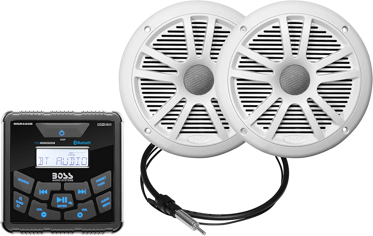 AM FM BOSS Audio Systems MCKGB450W.6 Weatherproof Marine Gauge Receiver and Speaker Package Bluetooth Audio No CD Player 6.5 Inch Speakers IPX6 Receiver NOAA Weather Band Tuner USB MP3