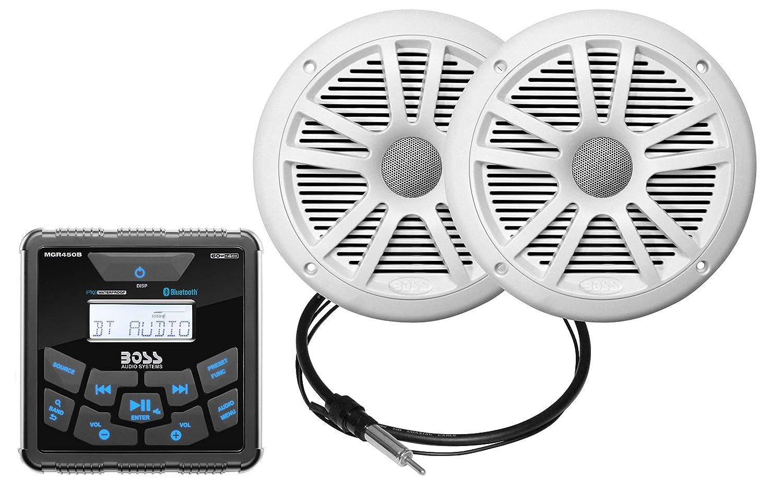 "BOSS Audio MCKGB450W.6 Marine Gauge Receiver & Speaker Package – IPX6 Rated Weatherproof Receiver, 6.5"" Weatherproof Speakers, Bluetooth Audio, USB/MP3, AM/FM & NOAA Weather Band Tuner, No CD Player"